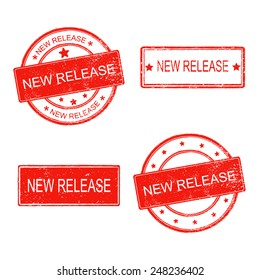 set of rubber stamp with text new release on white background