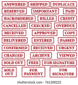 A set of rubber stamps on a office work themes:  paid, urgent, passed, free, sold out etc. vector illustration.
