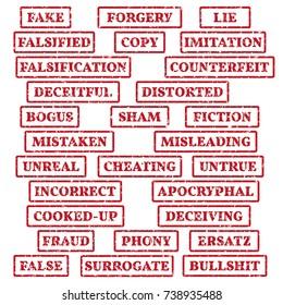 A set of rubber stamps on a theme: false, fake, imitation, fiction, bogus, fraud, bullshit, etc. 28 vector illustration.