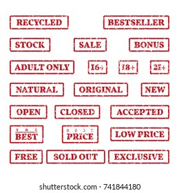 A set of rubber stamps on a themes: sale, price, bonus,  open, closed, new, etc. 21 vector illustration.