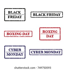 A set of rubber stamps on a themes: black friday, boxing day, cyber monday isolated on white background. Vector illustration.