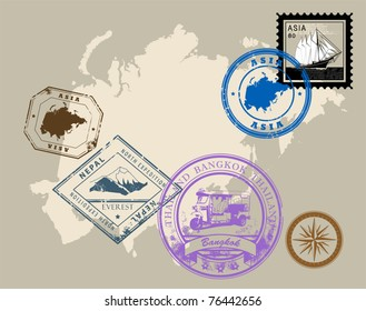 Set of rubber stamps of theme Asia, vector illustration