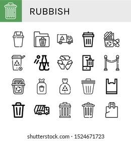 Set of rubbish icons. Such as Delete, Bin, Recycle bin, Garbage, Garbage bin, Bottle throw, Recycle, Separator, Rubbish, Trash Plastic bag, Garbage truck , rubbish icons