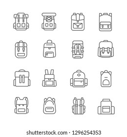 Set of rucksack Related Vector Line Icons. Contains such Icons as backpack, knapsack, sack, satcheland etc. - Vector