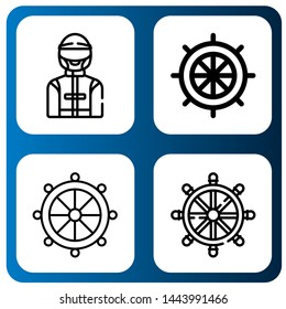 Set of rudder icons such as Driver, Rudder, Helm , rudder