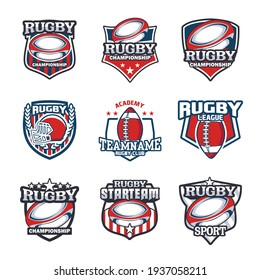 Set of Rugby club emblem. American Football badge shield logo, Rugby ball team game club elements, Vector Logo Illustration Fit to championship or team