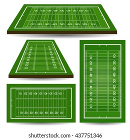 Set of rugby fields with perspective. American football. Vector illustration.