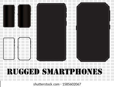 A set of rugged and tough design smartphones in outline, solid and reflective screen styles