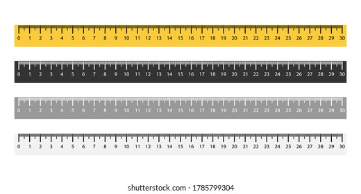 Set of ruler metric measurement in yellow and black colors. Isolated measure tool from 1 to 30 cm. Horizontal rulet with mm sign. Distance measuring math instrument. Vector EPS 10.