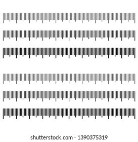 set of ruler scales different thickness and form