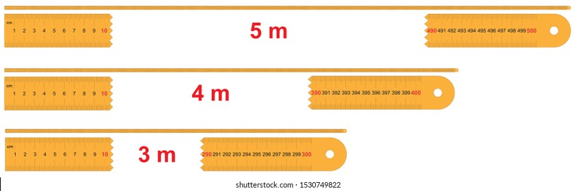 Set Rulers of 5, 4, 3 meters. Calibration grid, mockup. 1 mm increment. Scale 1:2.