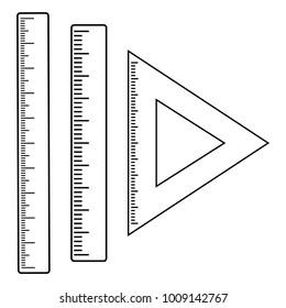 Set of rulers, outline design. Vector illustration