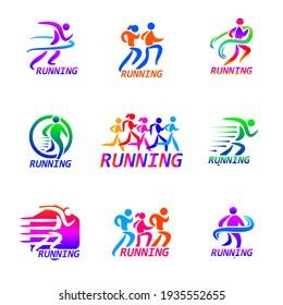 Set of Run sport club logo templates. emblems for sport organizations, tournaments and marathons colorful vector Illustrations. Design inspiration