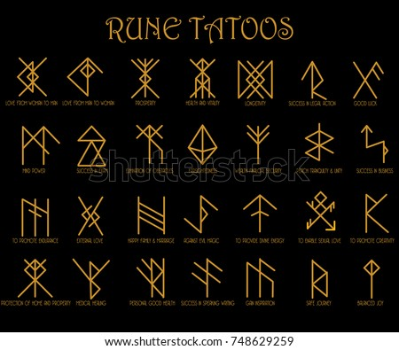 Set Runes Tattoo Meaning Illustrator Stock Vector Royalty Free
