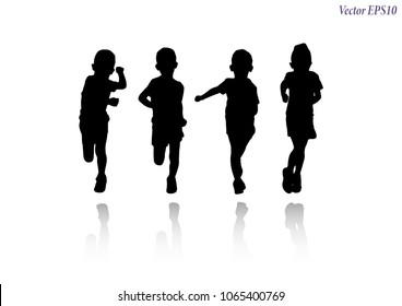 Set of runners collection. Silhouette and shadows of athletic little girl in sportswear running or jogging. Isolated on white background. Vector EPS10.