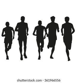 Set of runners silhouettes. Running men. Front view,