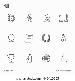 Set of running competition thin line icons. Vector illustration.