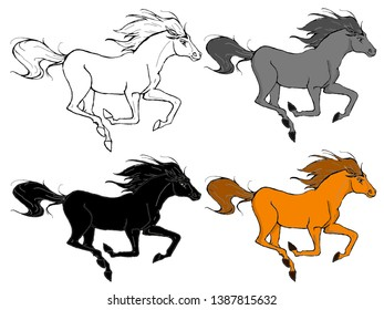 A set of running horses, black and white, gray, black and color on a white background.
