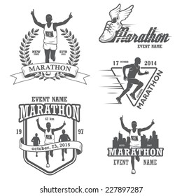 Set of running marathon and jogging emblems, labels and badges. isolated vector illustration