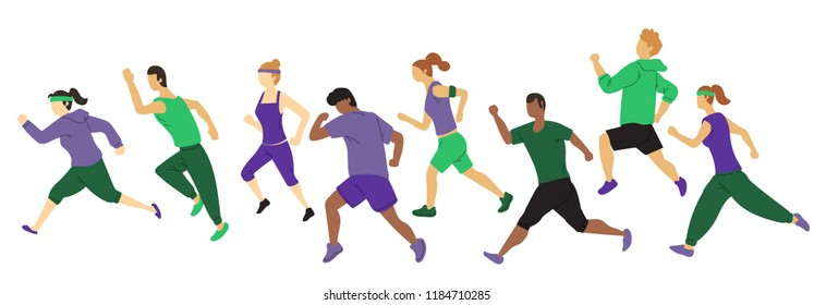 set of running people vector with simple minimalist style