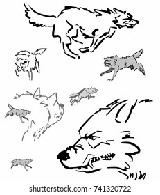 Set of running wolves or dogs in motion in various views. Eight wolves at white background vector sketch. Simple drawing. Black, white, grey.