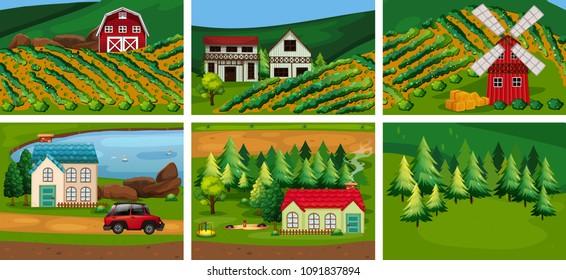 A Set of Rural Area illustration