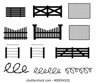 Set of rural fences in silhouette style