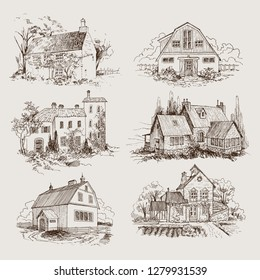 Set of Rural landscape with old farmhouse and garden. Hand drawn illustration in vintage style. Vector design