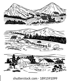 Set of rural landscapes. Houses, trees, mountain, livestock. Hand drawn vector illustrations. Black graphic drawings isolated on white. Sketches in vintage style for design wrap, print, poster, cards.