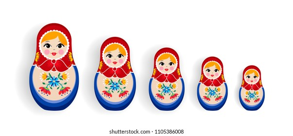 Set of russian doll toys isolated on white background. Nesting matrioska girl family, souvenir from Russia in hand drawn floral dress. EPS10 vector.