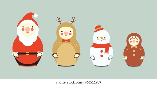 Set of Russian dolls family dressed Christmas clothes, vector design