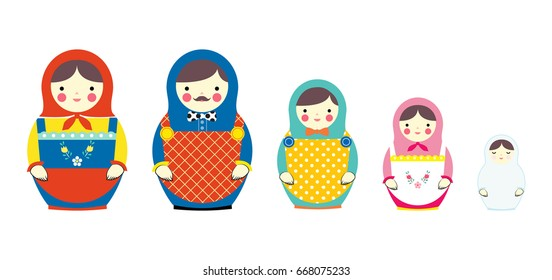 set of russian dolls family, vector design