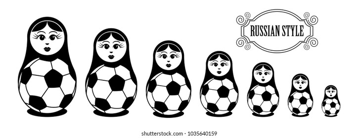 Set of Russian dolls with soccer balls.