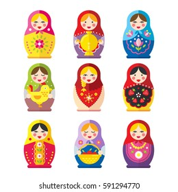 A set of Russian matryoshka dolls in a flat style. The traditional symbol of Russia. Icons Russian national children's toys babushka dolls.