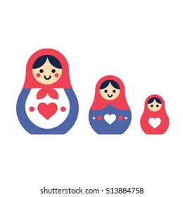 Set of Russian nesting dolls, Matryoshka. Simple and modern style vector illustration.
