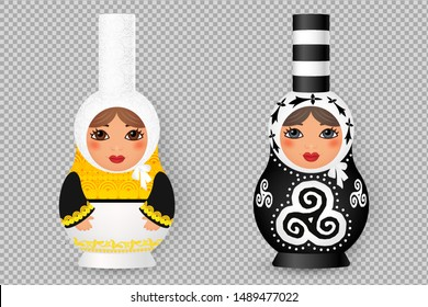 Set of Russian realistic dolls matryoshka stylized to traditional Breton costumes and decorated with triskels and hermines (Celtic symbols). Vector illustration on transparent background imitation.