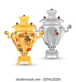 Set of russian traditional samovars. Ornamental and iron kind