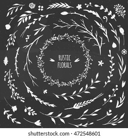 set of rustic floral elements on a chalkboard, vector decorative flowers and herbs for autumn design