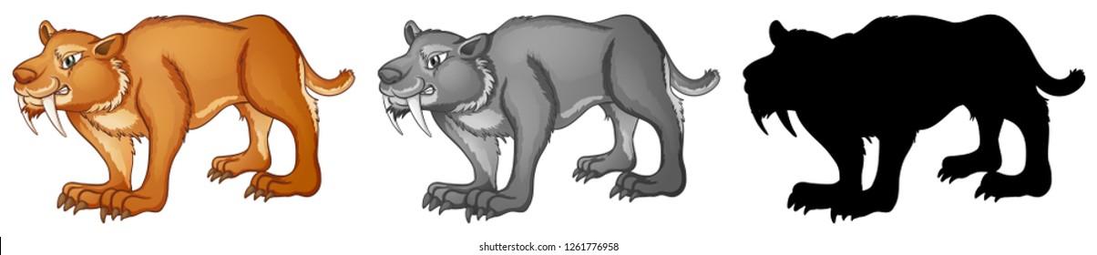 Set of sabertooth tiger illustration