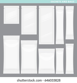 Set of sachets and bags for liquids of food in different styles and sizes.