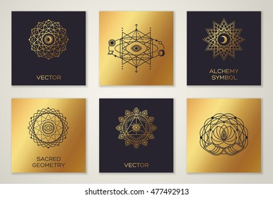 Set of Sacred Geometry Minimal Geometric Shapes. Black and Gold Color Trendy Hipster Icons and Logo, Alchemy Symbol, Occult and Mystic Sign. Forms with Eye, Moon and Sun