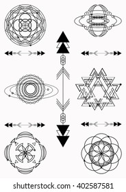 Set of sacred geometry. Vector graphic symbols and elements