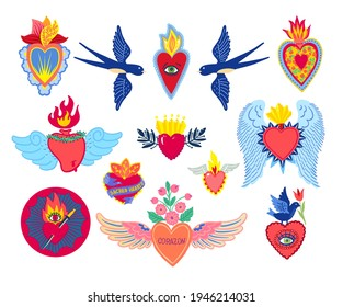 Set Sacred Heart of Jesus print old school tattoo style. Mexican corazon heart. Hand drawn vector for T-shirt, vintage poster. Spirituality, religion, Christianity, Catholicism, alchemy, occultism.