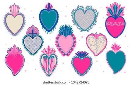 Set Sacred mexican spirit color. Soul symbol religion. Decoration emblem holy heart.Sacramental religion.Vector illustration.