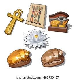 A set of sacred symbols and artifacts of ancient Egypt isolated on a white background. Vector illustration.