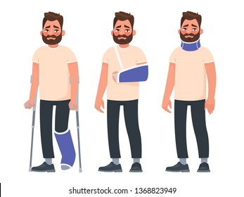 Set of sad character man with injuries. Fracture or dislocation of the leg, arm, neck damage. Person with a gypsum and a fixing collar. Broken limbs. Consequences of the accident. Vector illustration