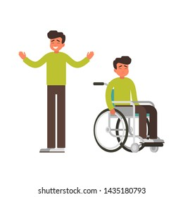 Set of Sad man sits in wheelchair and happy man stands with raised arms. Young male person got up from a wheelchair as a result of rehabilitation. Vector Medical concept