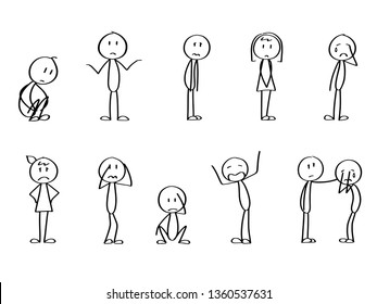 Set of sad stick men. Crying, offended, mad and disappointed stick figures. Bad emotions collection.