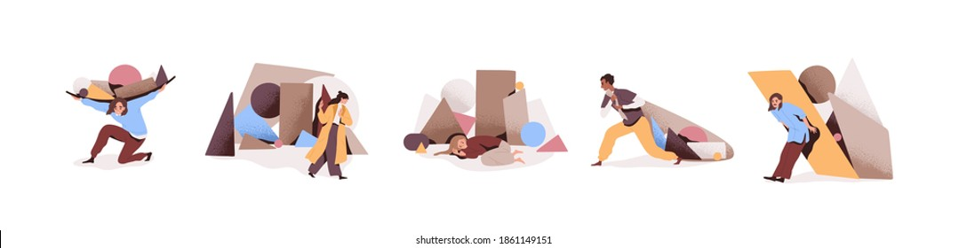 Set of sad and tired people overloaded with problems or tasks. Collection of male and female characters coping with difficulties by carrying burden or ignoring troubles. Flat vector illustration