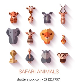 Set of Safari animals. Flat style. Vector illustration.